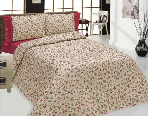 """Комплект постельного белья льняной """"Цветы"""" серый с розовым 1.5 спальный"""