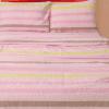 """Фото 4 - Комплект постельного белья льняной """"Полоска"""" евро розовый с желтым."""