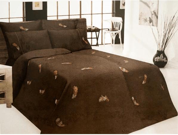"""Фото 3 - Комплект постельного белья 100% лен """"Перышко"""" семейный шоколадный."""