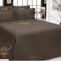 """Фото 3 - Комплект постельного белья 100% лен """"Ангелина"""" евро шоколадный."""