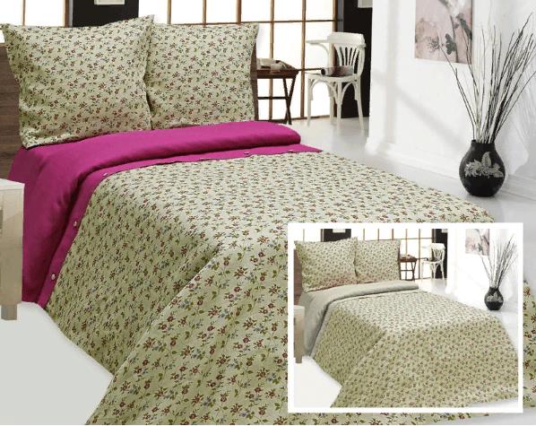 """Фото 3 - Комплект постельного белья льняной """"Цветы"""" серый 1.5 спальный."""