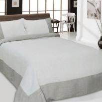 Фото 12 - Комплект постельного белья льняной евро серый с белым.