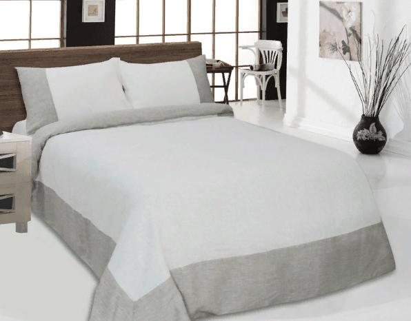 Фото 3 - Комплект постельного белья льняной евро серый с белым.