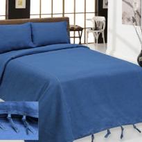 """Фото 15 - Комплект постельного белья льняной """"Деним"""" 2 спальный синий."""