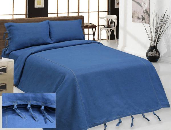 """Комплект постельного белья льняной """"Деним"""" 2 спальный синий"""