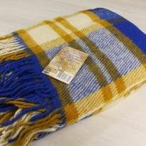 Фото 19 - Плед 100% шерсть 140*200 см цвет синий с горчичным.