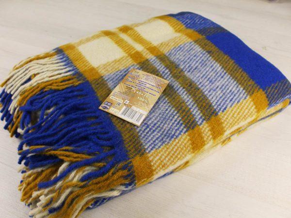 Фото 3 - Плед 100% шерсть 140*200 см цвет синий с горчичным.