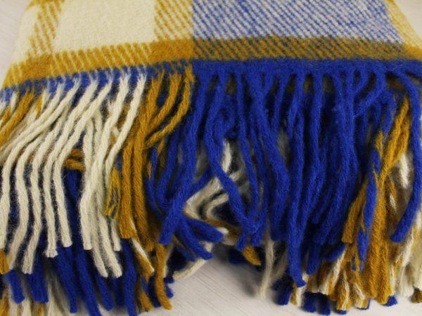 Фото 4 - Плед 100% шерсть 140*200 см цвет синий с горчичным.