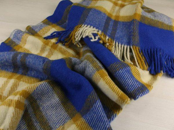 Фото 5 - Плед 100% шерсть 140*200 см цвет синий с горчичным.