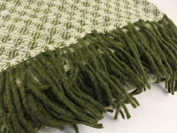 """Фото 3 - Плед 100% шерсть  """"Жаккард"""" цвет зеленый."""