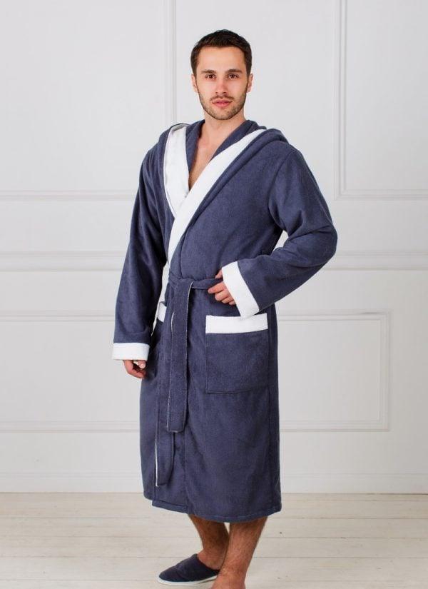 Фото 3 - Мужской махровый халат с капюшоном.