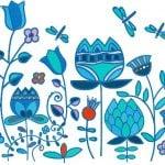 Голубые цветы Вышивка