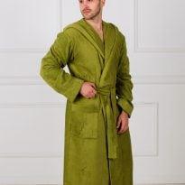 Мужской махровый халат с капюшоном
