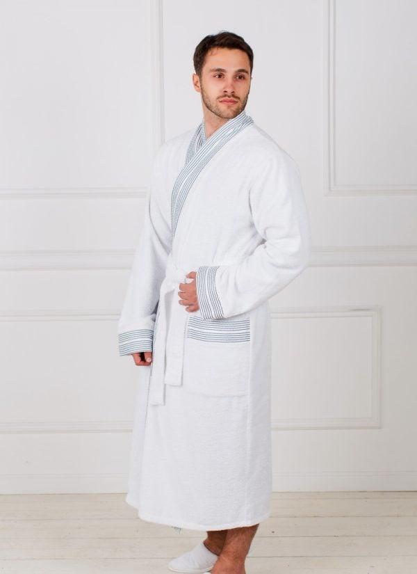 Фото 3 - Мужской махровый халат с жаккардовым бордюром.