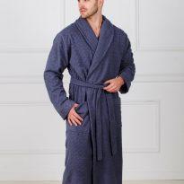 Фото 5 - Жаккардовый мужской махровый халат с шалькой.