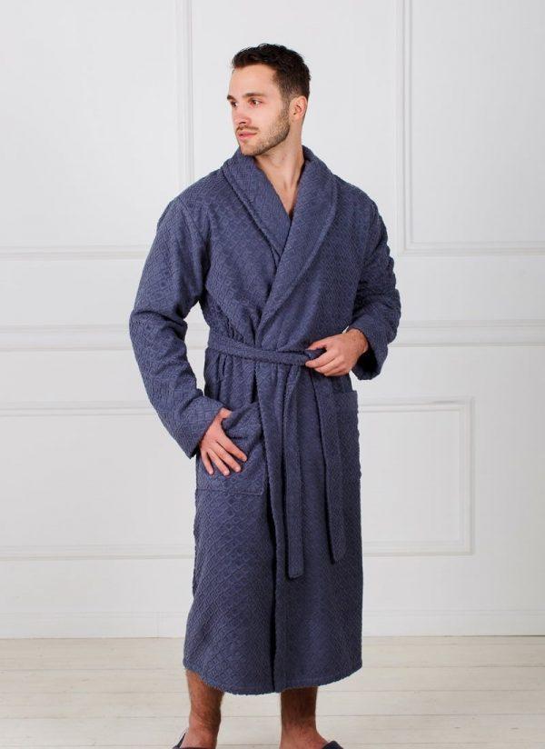 Фото 3 - Жаккардовый мужской махровый халат с шалькой.