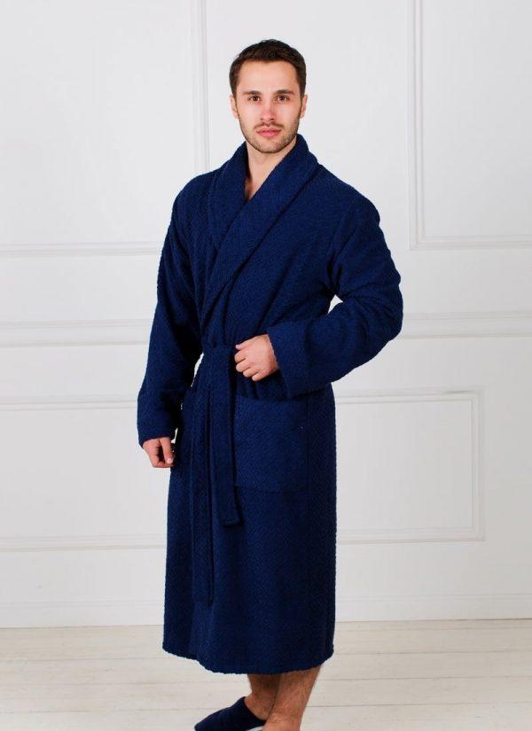Жаккардовый мужской махровый халат с шалькой