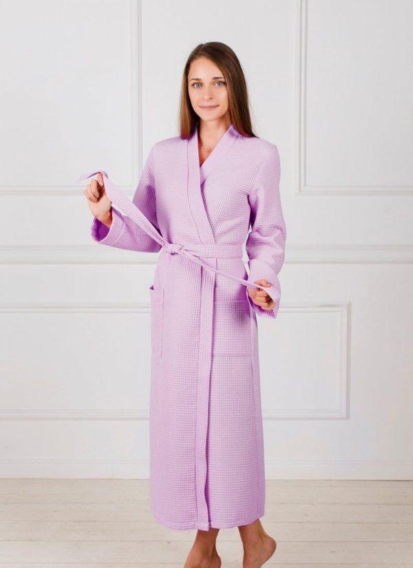Фото 3 - Женский вафельный халат с планкой.