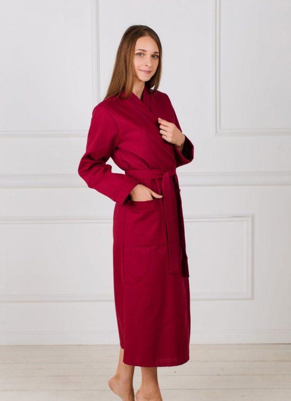 Женский вафельный халат с планкой