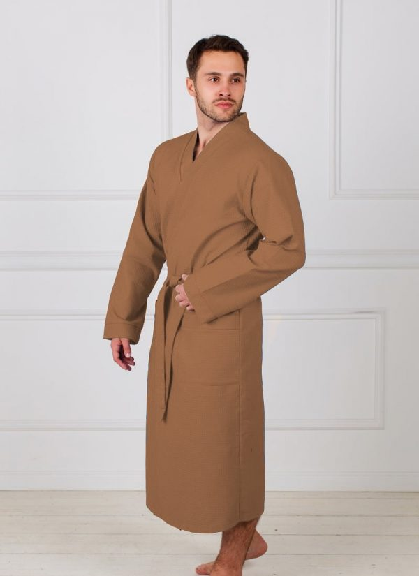 Фото 3 - Мужской вафельный халат с планкой.
