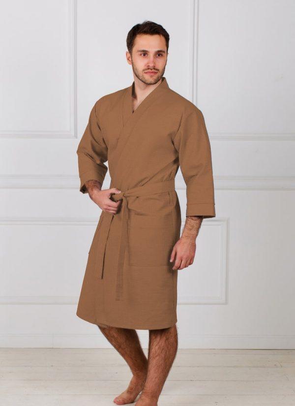 Фото 3 - Мужской укороченный вафельный халат с планкой.