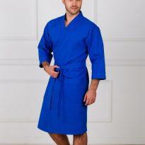 Фото 18 - Мужской укороченный вафельный халат с планкой.