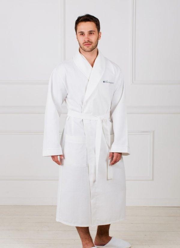 Мужской вафельный халат с шалькой