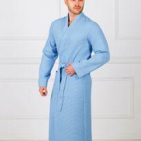 Фото 5 - Мужской вафельный халат с планкой.
