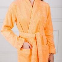 Фото 9 - Женский махровый халат с жаккардовой отделкой, воротник планка.