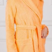 Женский махровый халат с жаккардовой отделкой, воротник планка