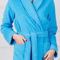 Фото 7 - Женский махровый халат с жаккардовой отделкой, воротник планка.