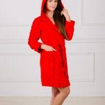 Фото 5 - Махровый женский укороченный халат с капюшоном.