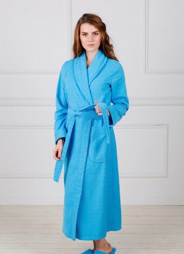 Фото 3 - Жаккардовый женский махровый халат с шалькой.