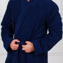 Фото 15 - Мужской махровый халат с жаккардовой отделкой, воротник планка.