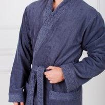 Фото 17 - Мужской махровый халат с жаккардовой отделкой, воротник планка.