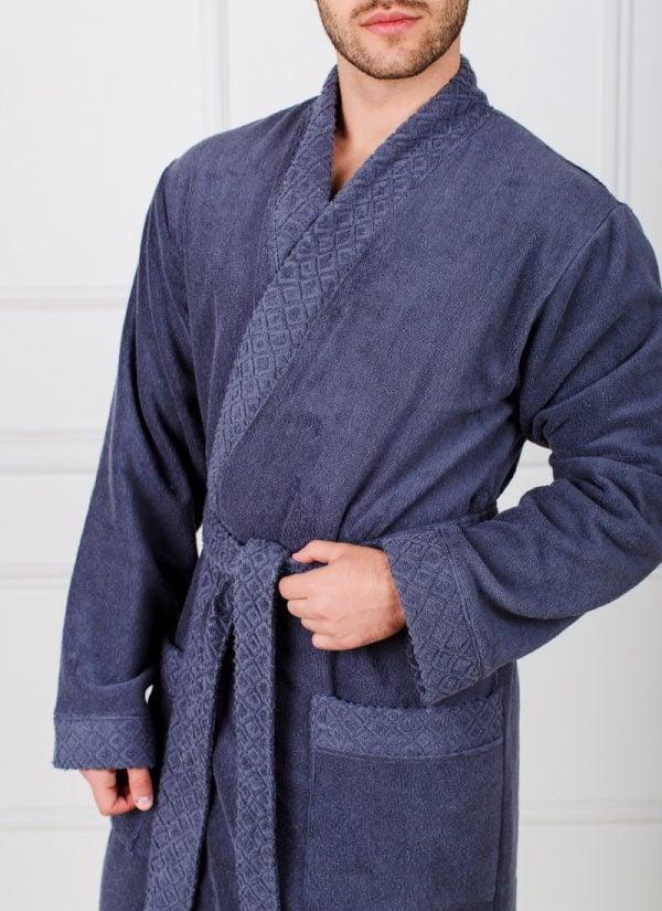 Мужской махровый халат с жаккардовой отделкой, воротник планка