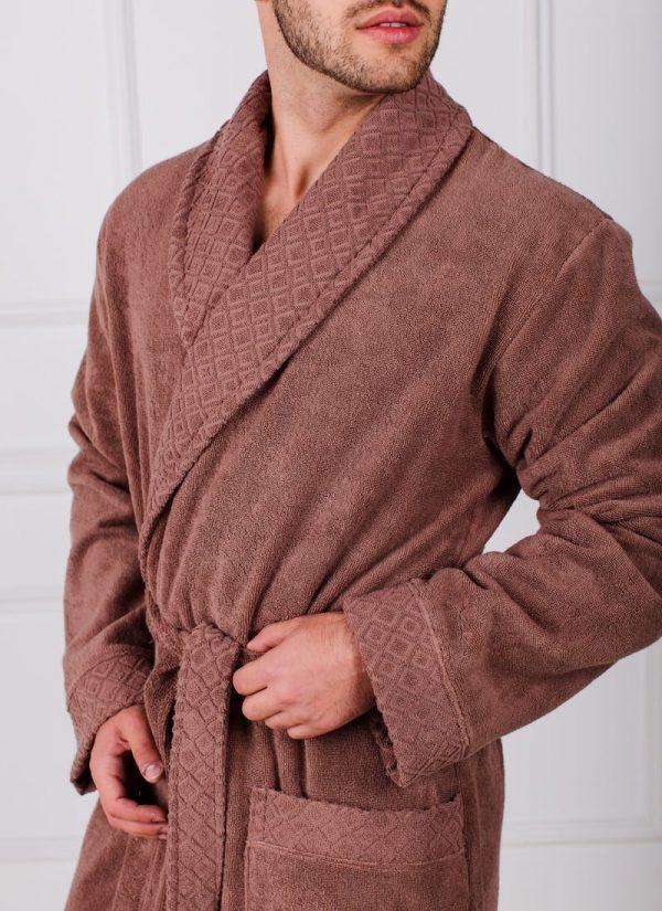 Мужской махровый халат с жаккардовой отделкой, воротник шалька