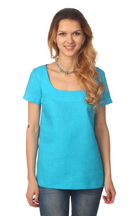 Фото 23 - Блуза льняная с коротким рукавом.