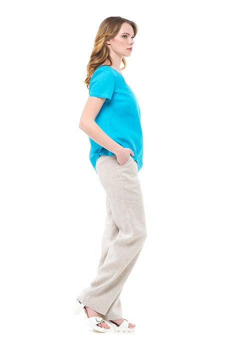 Фото 24 - Блуза льняная с коротким рукавом.