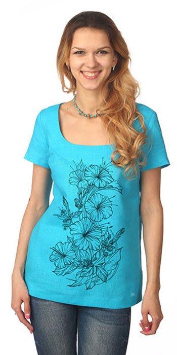 Фото 28 - Блуза льняная с коротким рукавом.