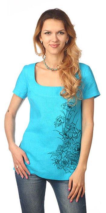 Фото 27 - Блуза льняная с коротким рукавом.