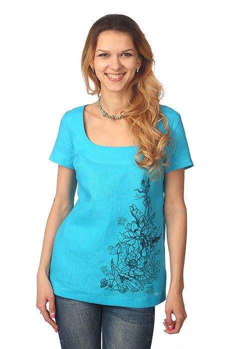 Фото 26 - Блуза льняная с коротким рукавом.
