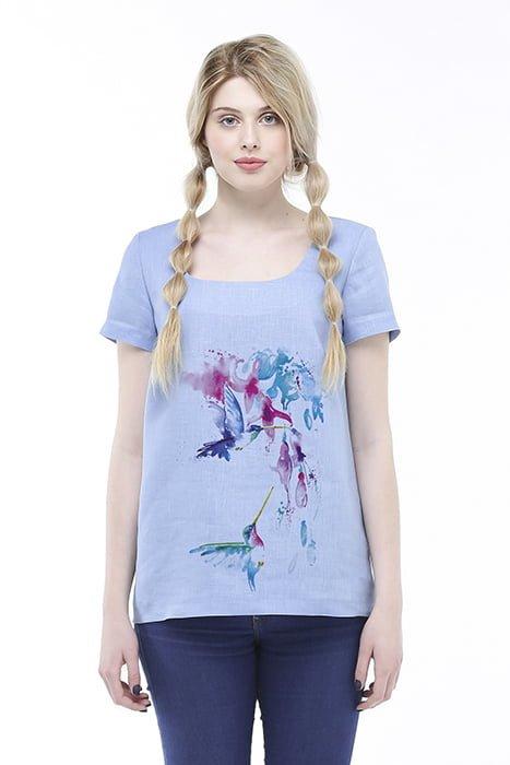 Фото 11 - Блуза льняная с коротким рукавом.