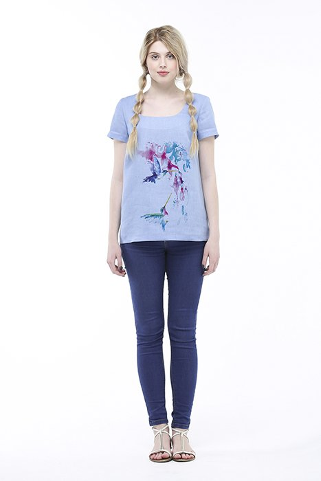 Фото 21 - Блуза льняная с коротким рукавом.