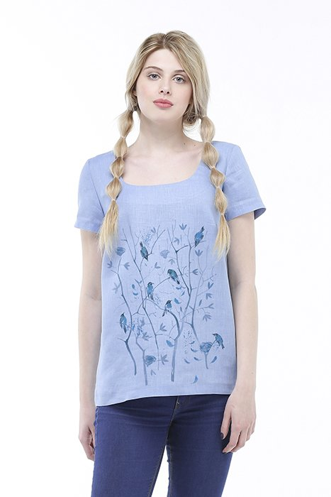 Фото 20 - Блуза льняная с коротким рукавом.