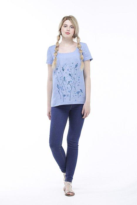 Фото 19 - Блуза льняная с коротким рукавом.