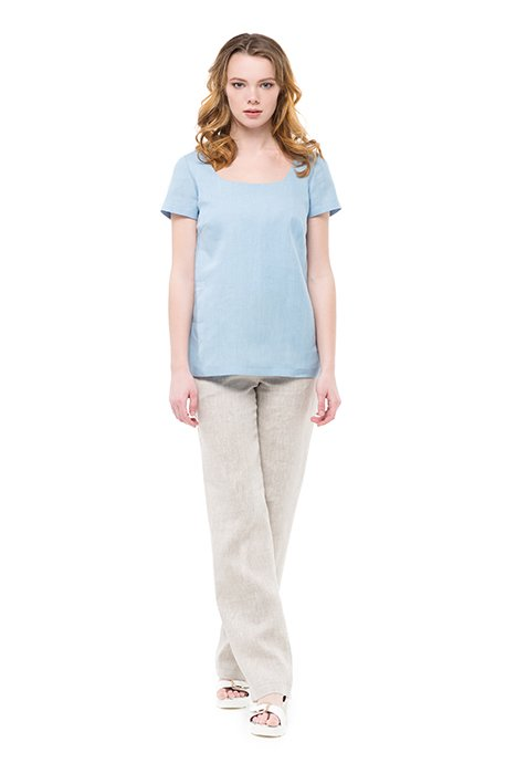 Фото 7 - Блуза льняная с коротким рукавом.