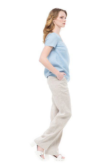 Фото 9 - Блуза льняная с коротким рукавом.