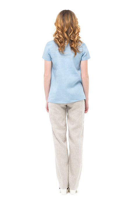 Фото 8 - Блуза льняная с коротким рукавом.