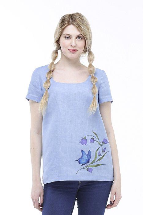Фото 10 - Блуза льняная с коротким рукавом.
